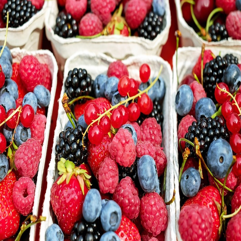 Berries, raspberries and strawberries